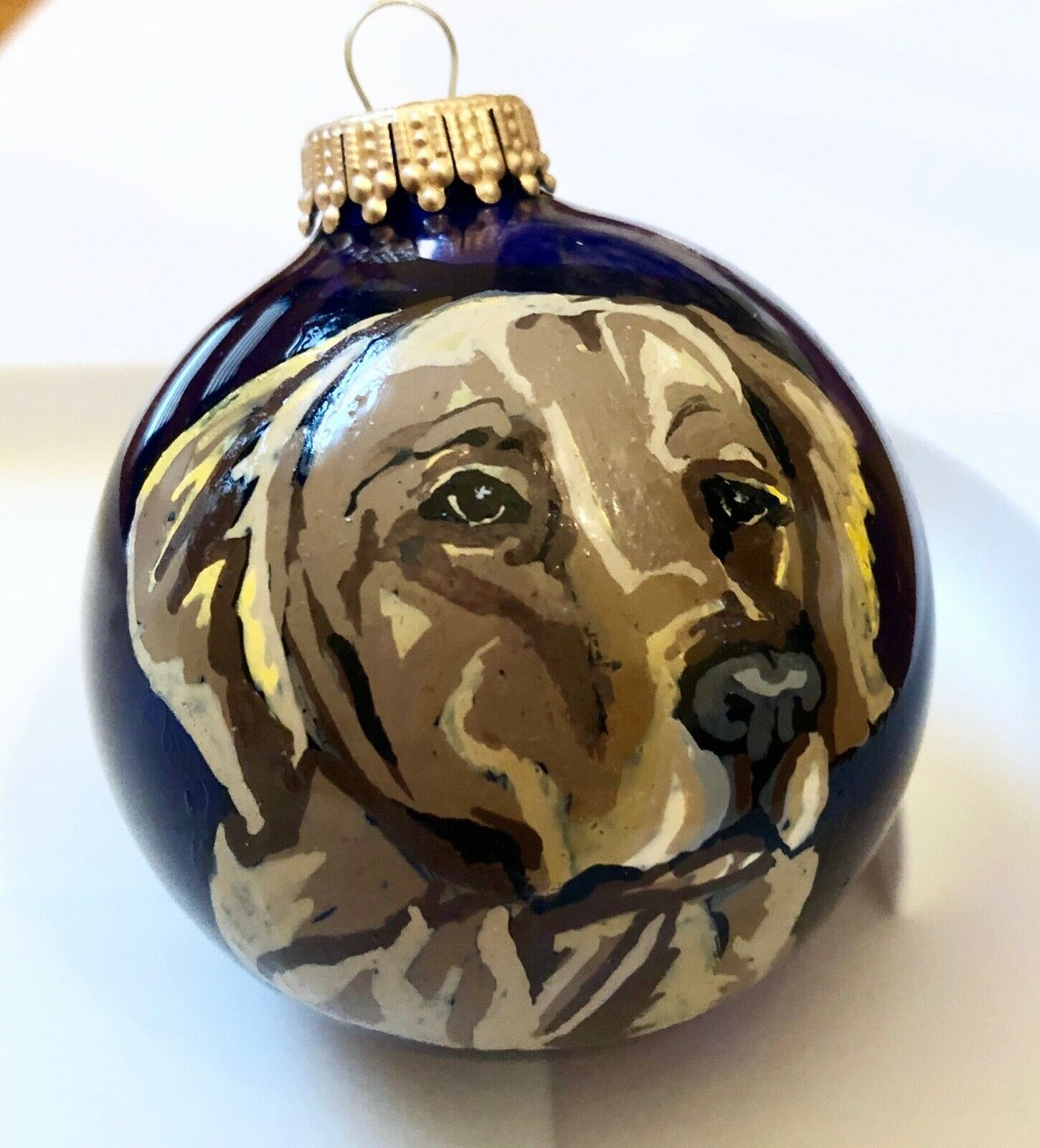 Golden Retriever Christmas Ornament Hand Painted Glass Dog In