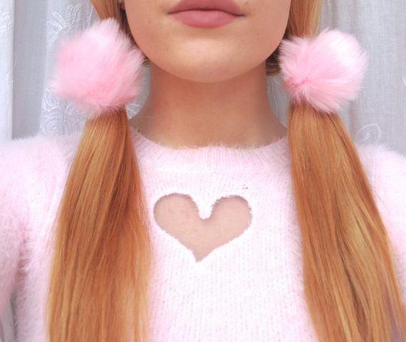 Fluffy Fur Puffball Elastic Hair Tie   Pom Pom Hair Tie   Kawaii ... 57ce59817dc