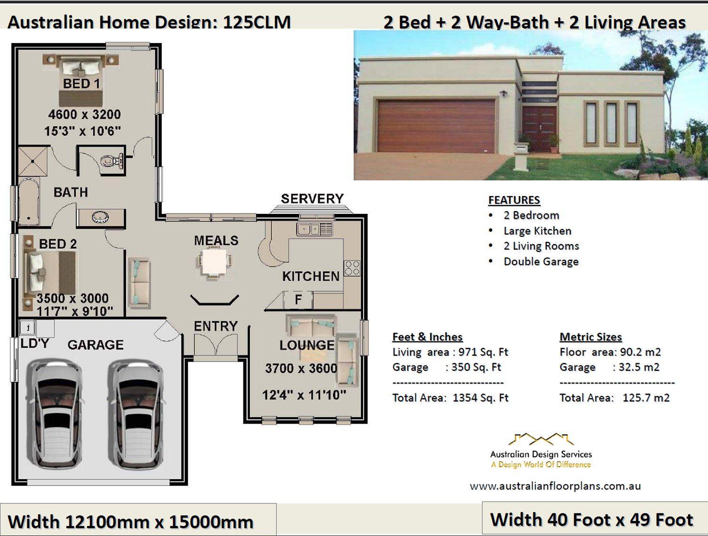 125 Clm 2 Bedroom 2 Car 125 7 M2 Preliminary House Plan Set For Sale 2 Bedroom House Plans House Plans House Plans Australia