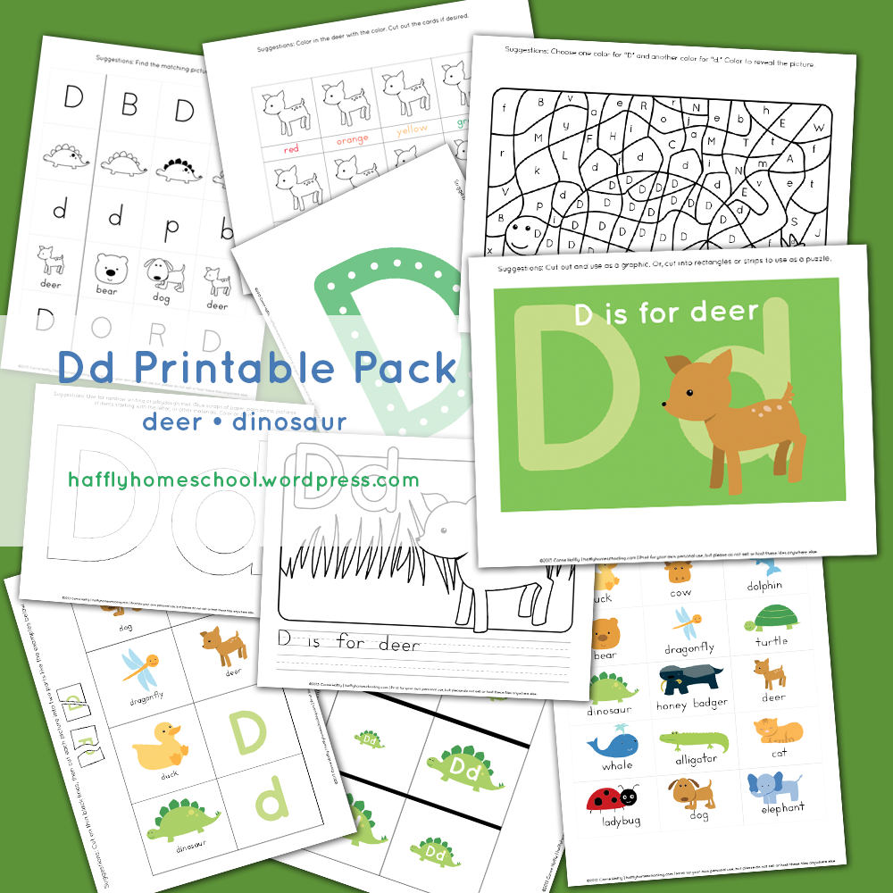 Dd – deer and dinosaur printable pack | Activities