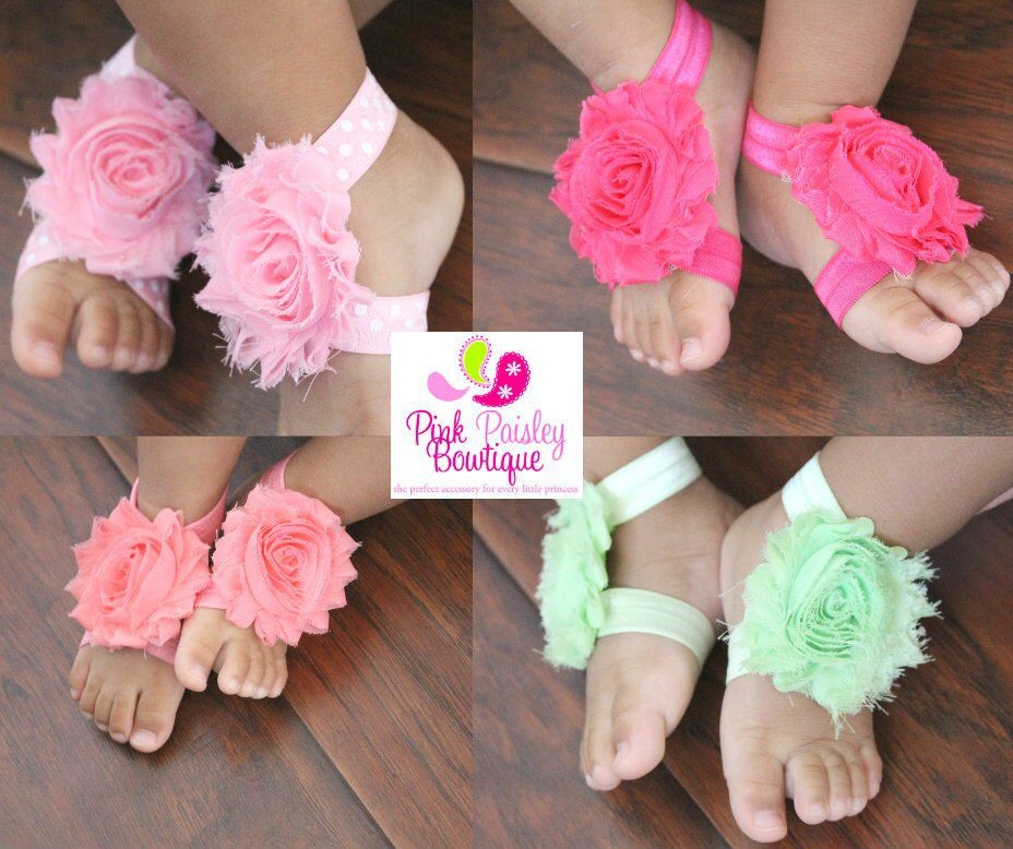 Set of 12 Qandsweet Baby and Girls Barefoots Sandals Chiffon Foot Flower Feet Accessories