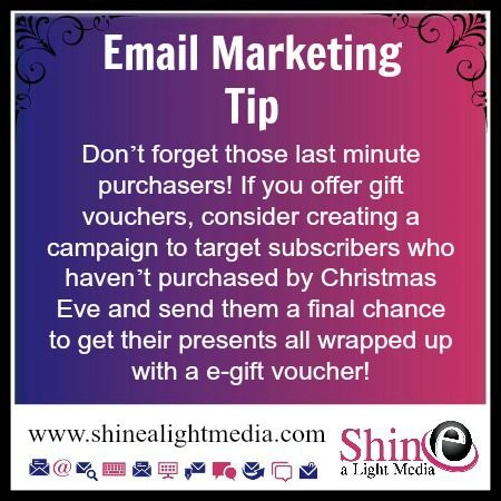 Donu0027t forget those last minute purchasers! If you offer gift - creating vouchers