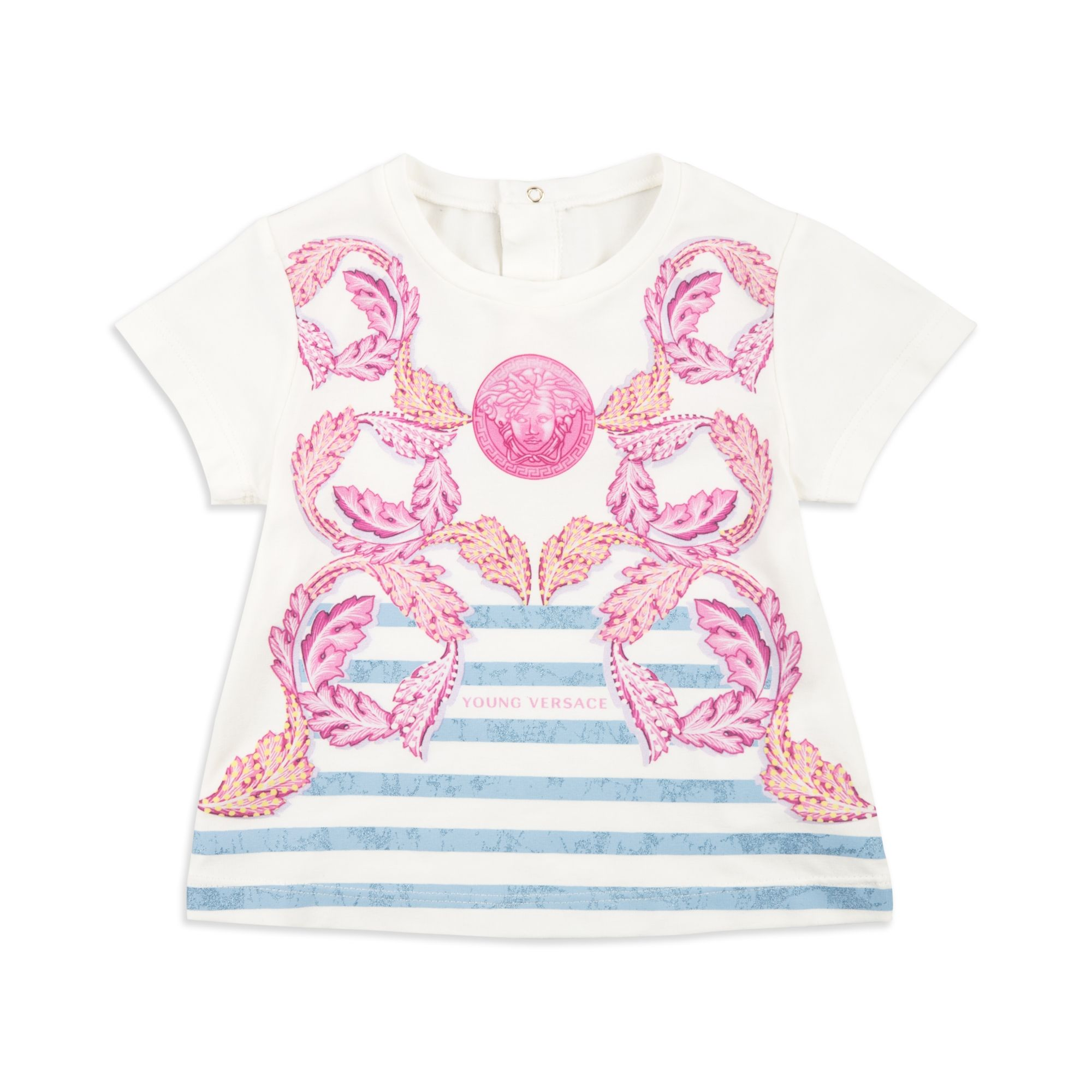 YOUNG VERSACE Baby Girls Baroque Print T Shirt White Baby short