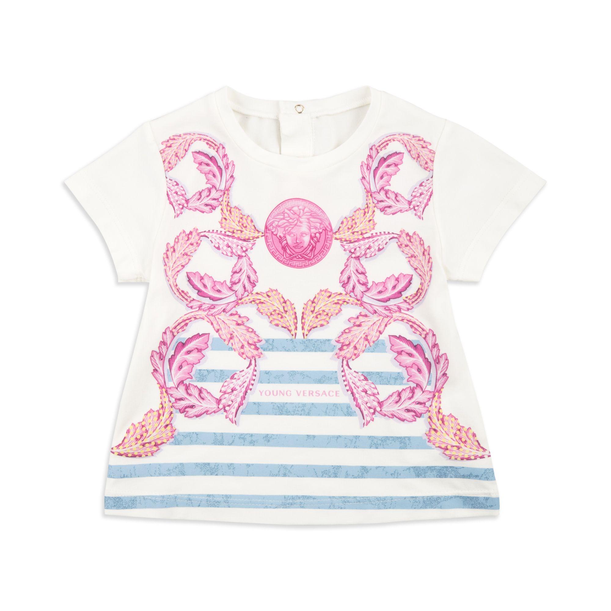 b06d79bf2b8 YOUNG VERSACE Baby Girls Baroque Print T-Shirt - White Baby short sleeve t-