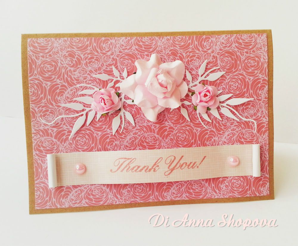 Unique greeting card handmade thank you card shabby roses french unique greeting card handmade thank you card shabby roses french chic ooak 3d kristyandbryce Gallery