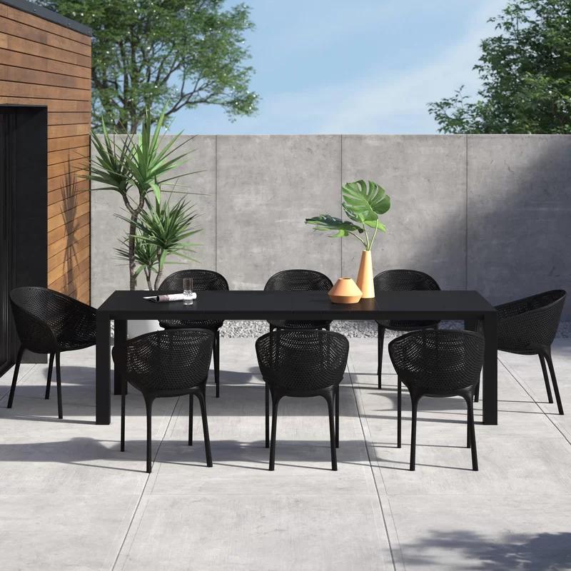 Brittney 9 Piece Dining Set Reviews Allmodern In 2020 Modern Outdoor Dining Sets Modern Outdoor Patio Modern Outdoor Dining