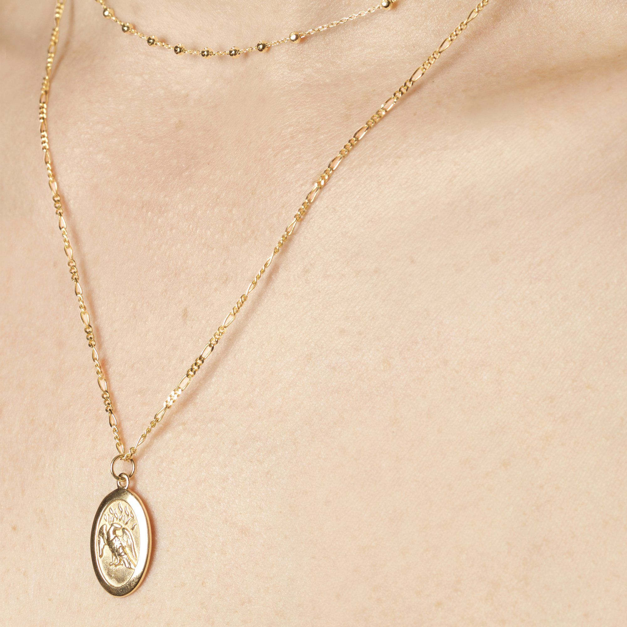 Phoenix Amulet Necklace Phoenix Jewelry White Gold Jewelry Phoenix Necklace