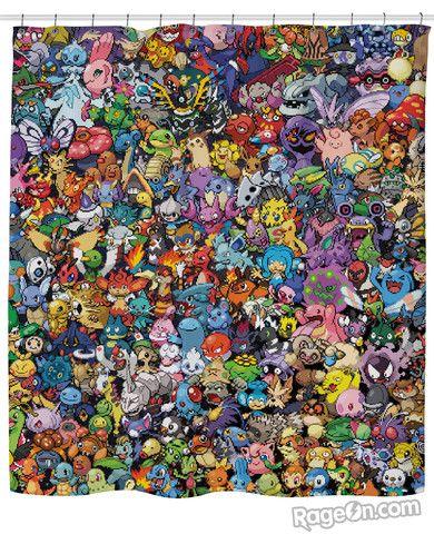 Pokemon Collage Shower Curtain Want Pokemon Lego