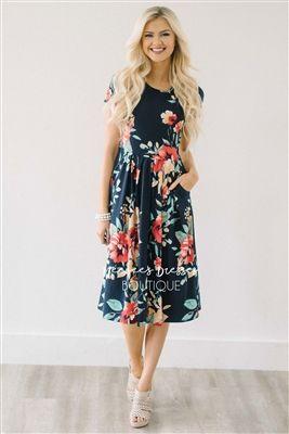 fd669a12d7e1 Navy Tropical Floral Pocket Dress, Modest Dress Bridesmaids Dress, best modest  boutique, cute modest clothes, modest dresses, best online modest boutique,  ...