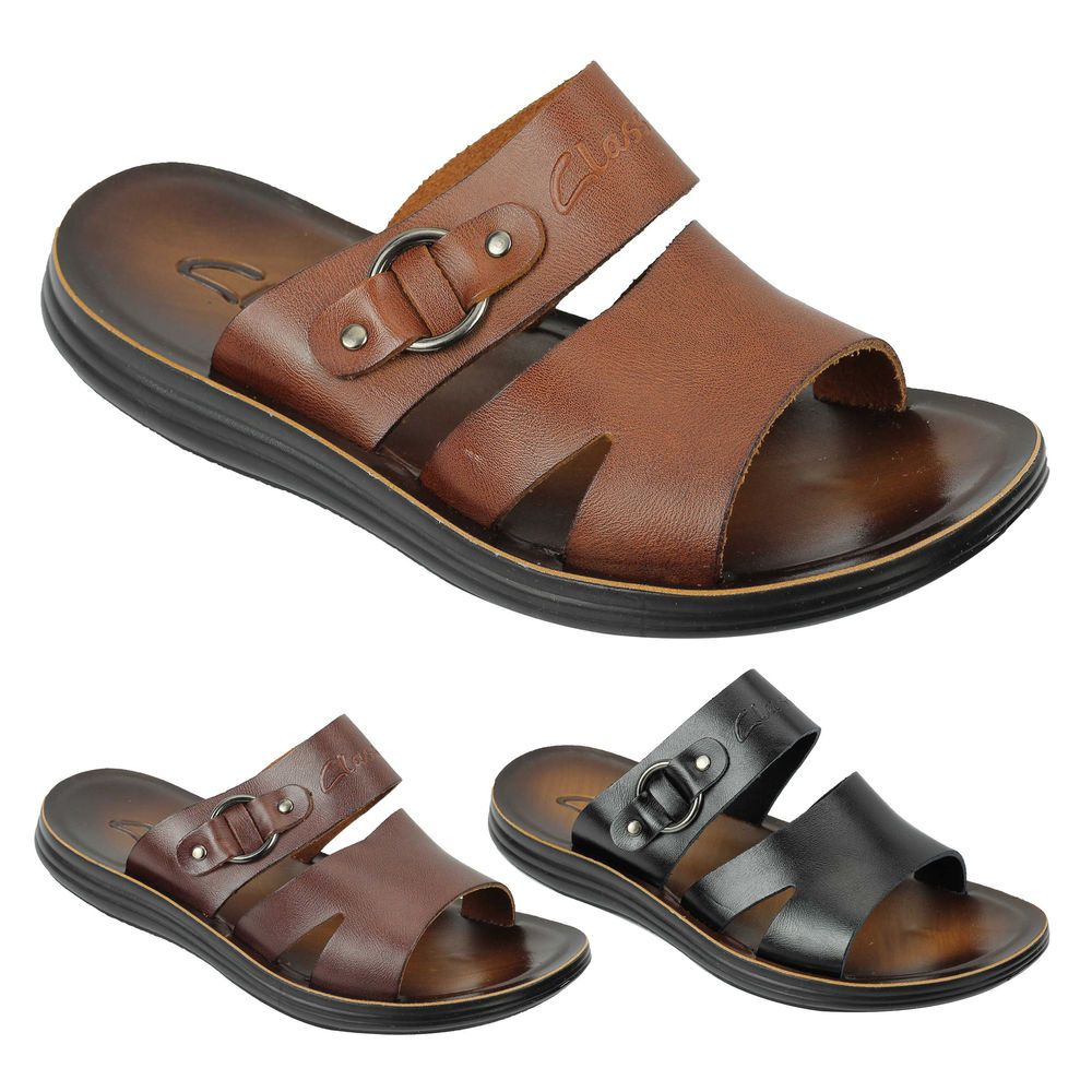 f5faa3dc42d14 New Mens Real Polished Leather Sandals Beach Walking Slippers Slider Black  Brown