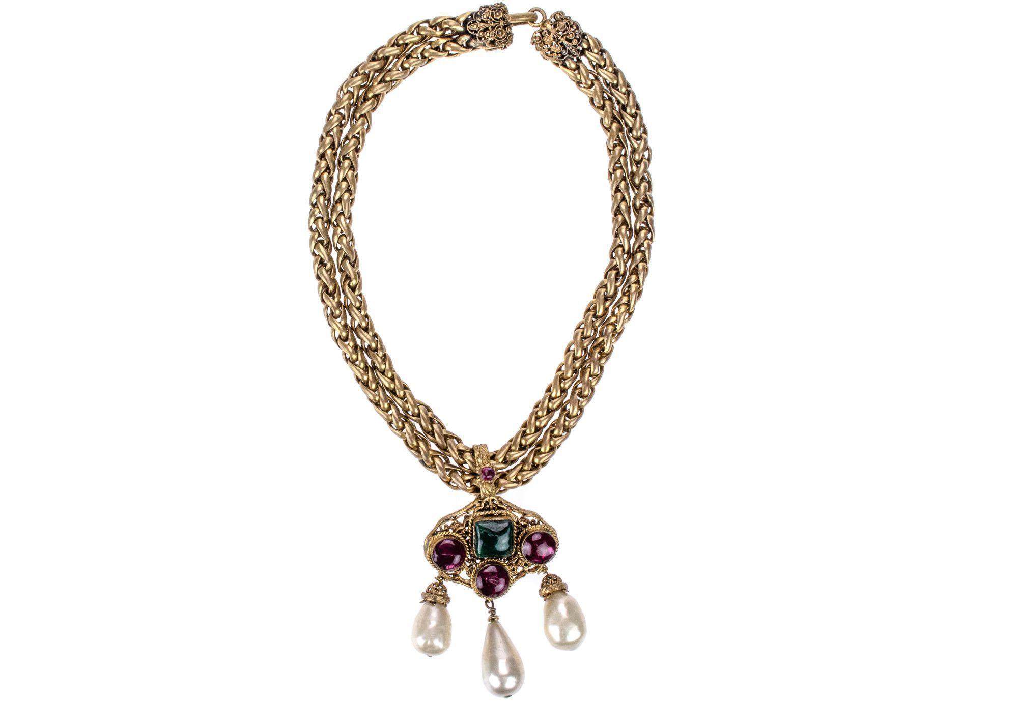 Chanel Early Vintage Gripoix Faux Pearl Necklace | Designer Vault