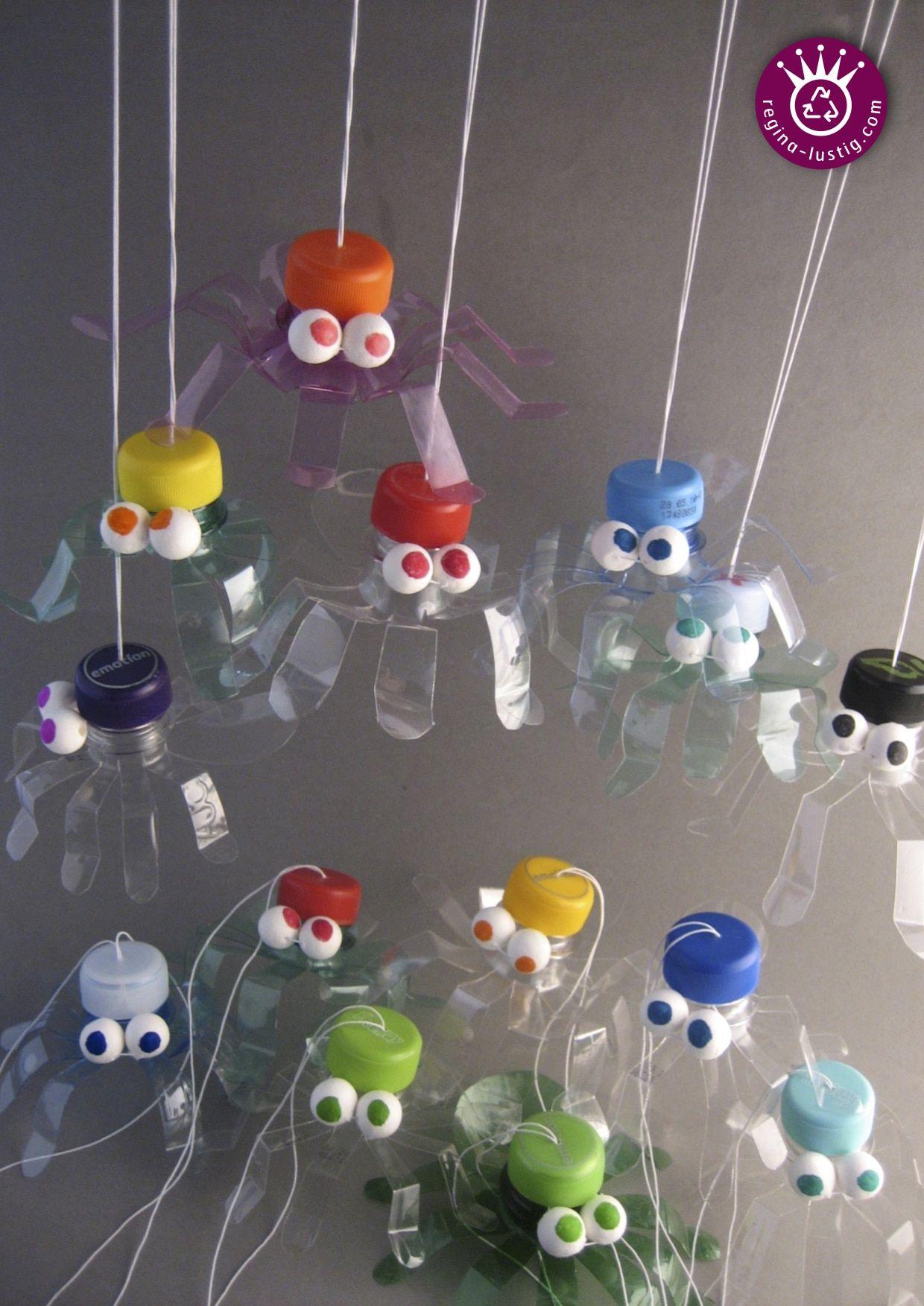 PET-Flaschen-Hüpfspinne   Pet flaschen, Wichtelgeschenke und Spinnen
