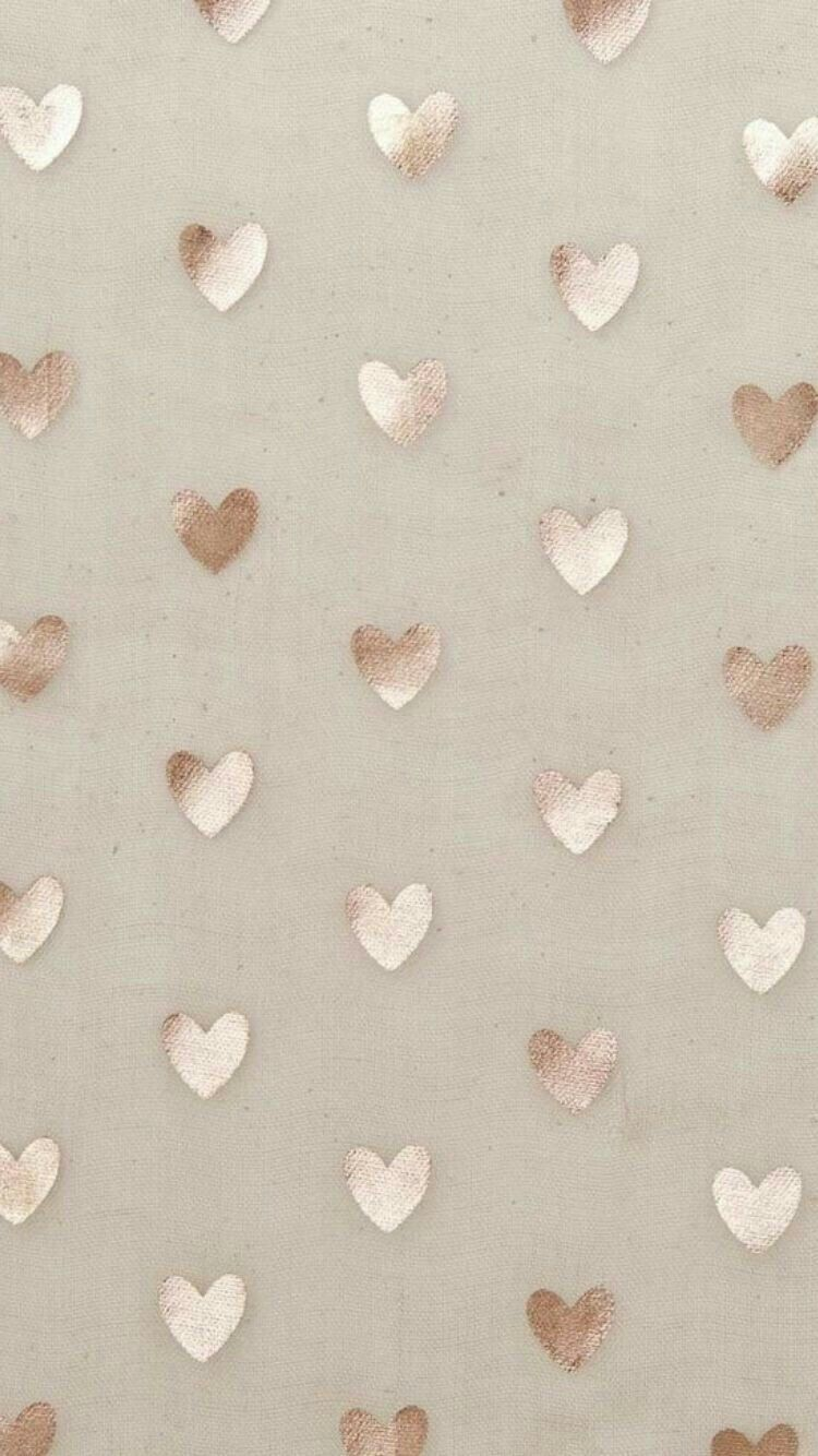 Beige gold simple heart phone wallpaper background chat - Iphone wallpaper rose gold ...