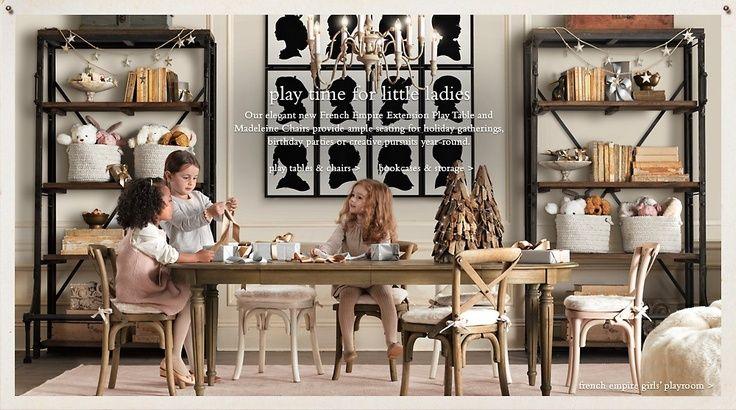Rustic Elegant Playroom with Chandelier and Wood/Metal Bookshelves ...