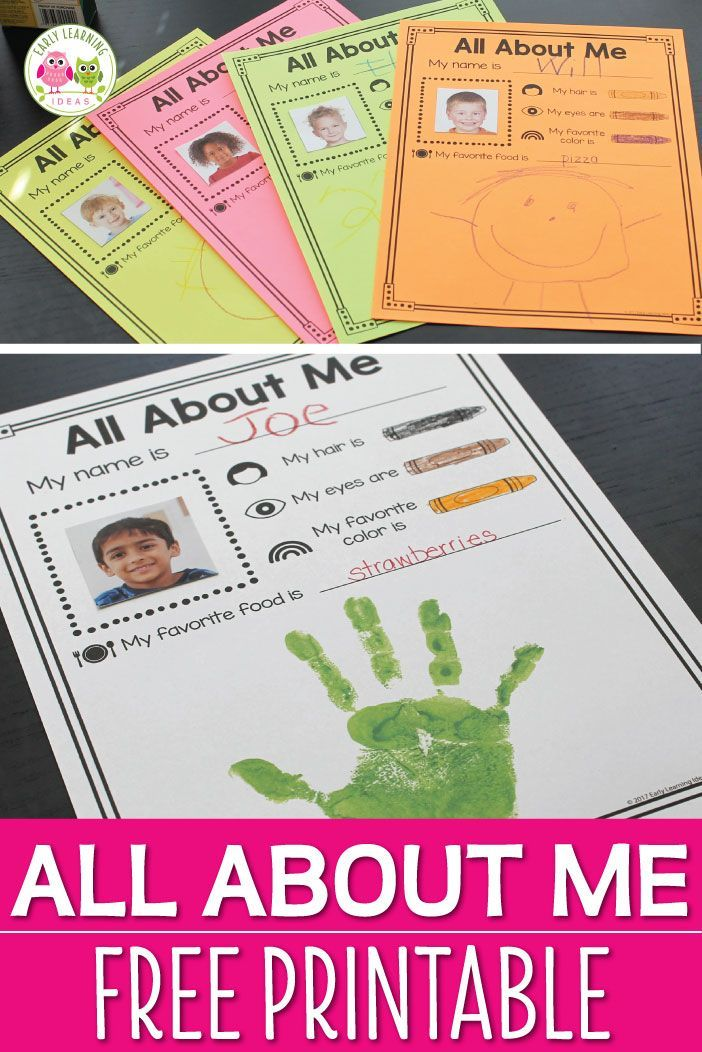 Nifty image with all about me kindergarten printable