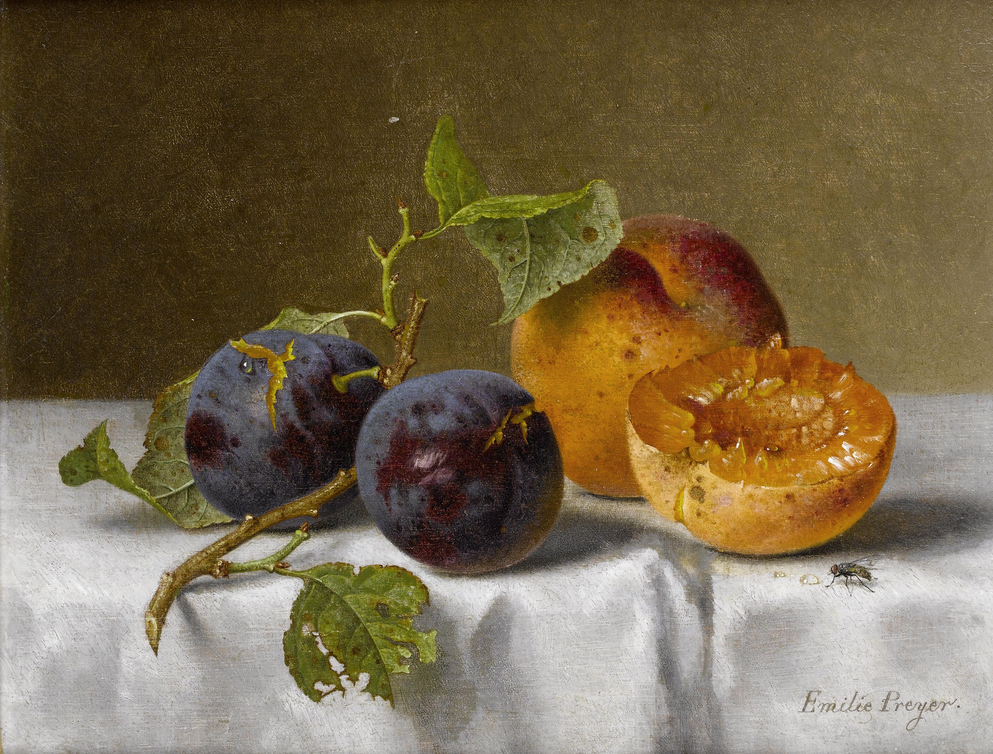 Emilie Preyer paintings - plum and apricot still life