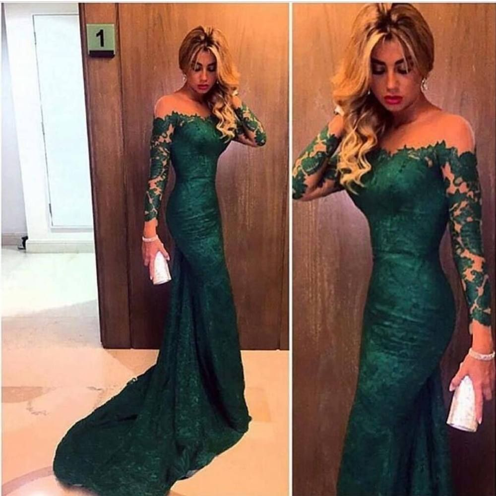 Lace Mermaid Evening Wedding Party Dress Celebrity Long Formal Prom ...