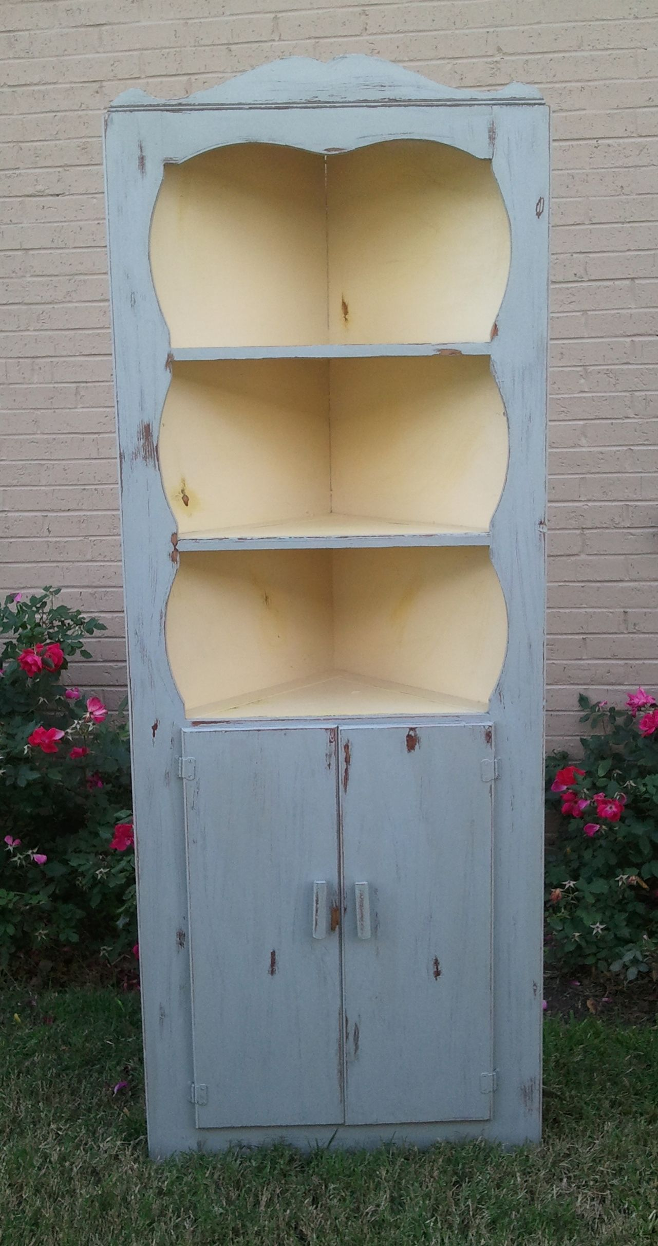 Vintage Corner Cabinet Vintage Small Country Corner Cabinet Painted By Onlinechic On Etsy