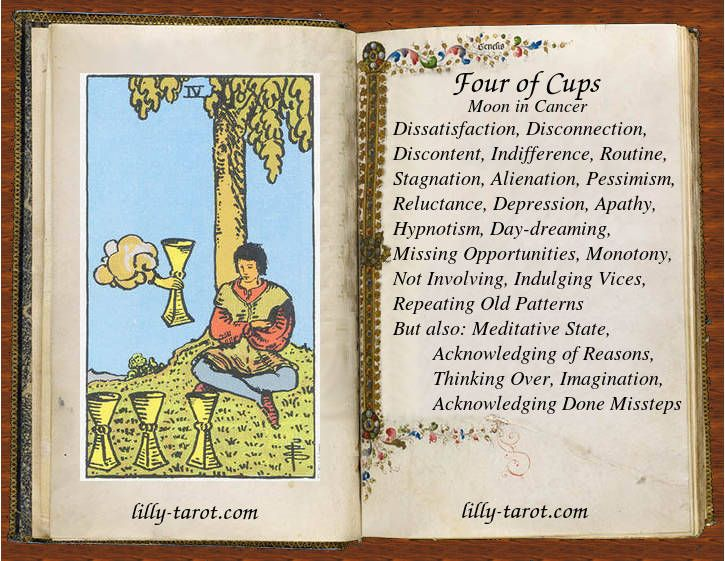 Meaning of four of cups tarot card meanings tarot