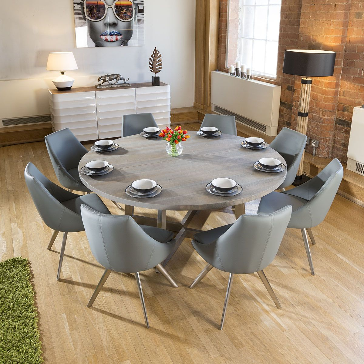 Large Round 1 8 Grey Oak Dining Table 8 Medium Grey Modern Pu Chairs In 2020 Oval Table Dining Round Dining Room Large Dining Room