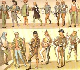 f4d3b2363f230 Hose Italian Renaissance hose were skin-tight, rather like today's tights.  They were highly patterned and often parti-coloured. Sometimes they ended  at the ...