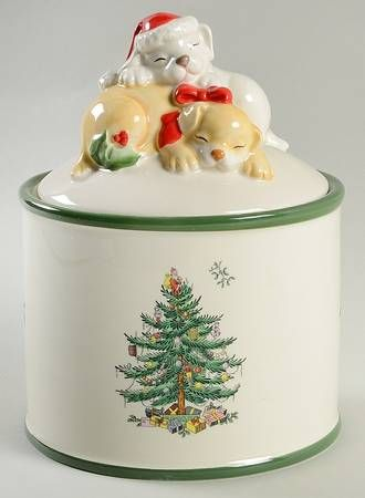 Spode Christmas Tree (Green Trim) Candy Jar U0026 Lid
