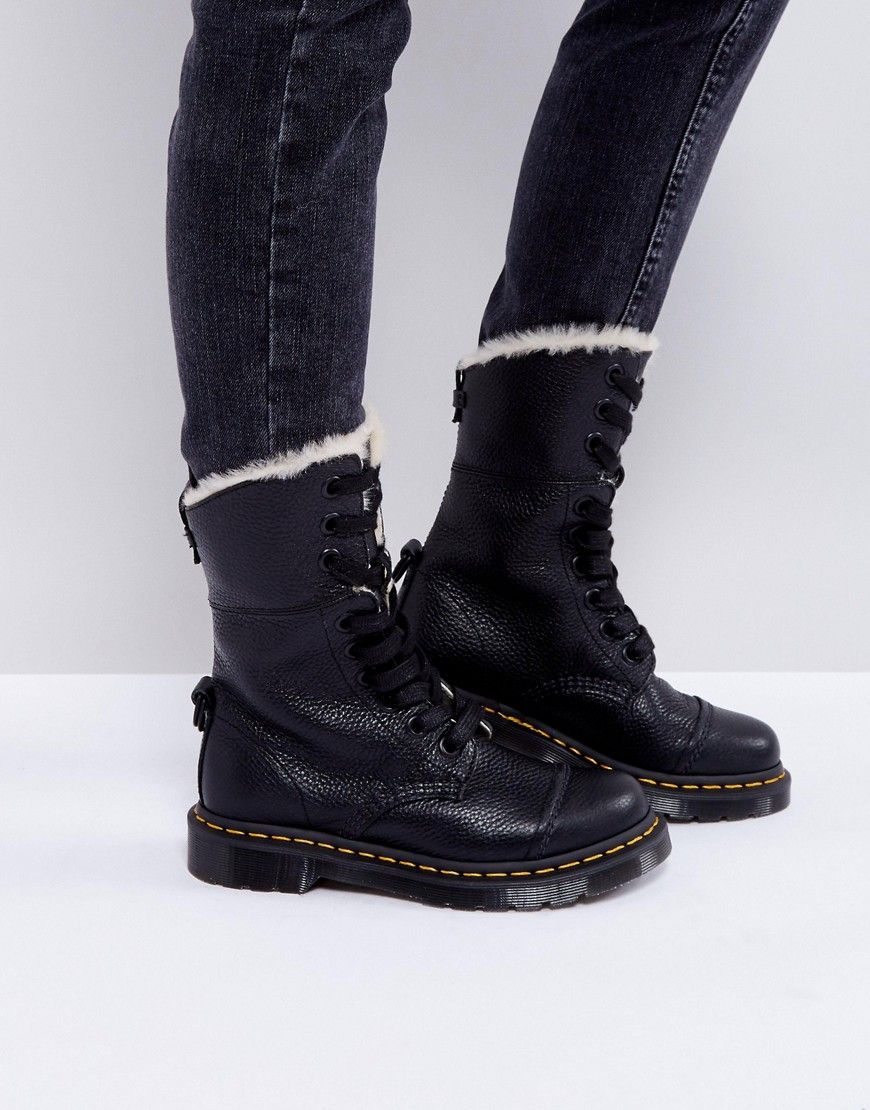 f624d32adc5 Dr Martens Aimilita Faux Fur 9 Eye Boots - Black | it's all about me ...