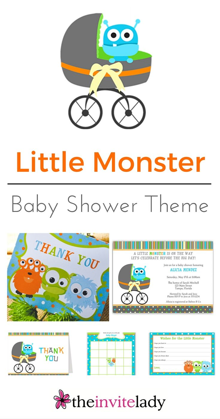 Ideas for a Little Monster Baby Shower. Choose Invitations