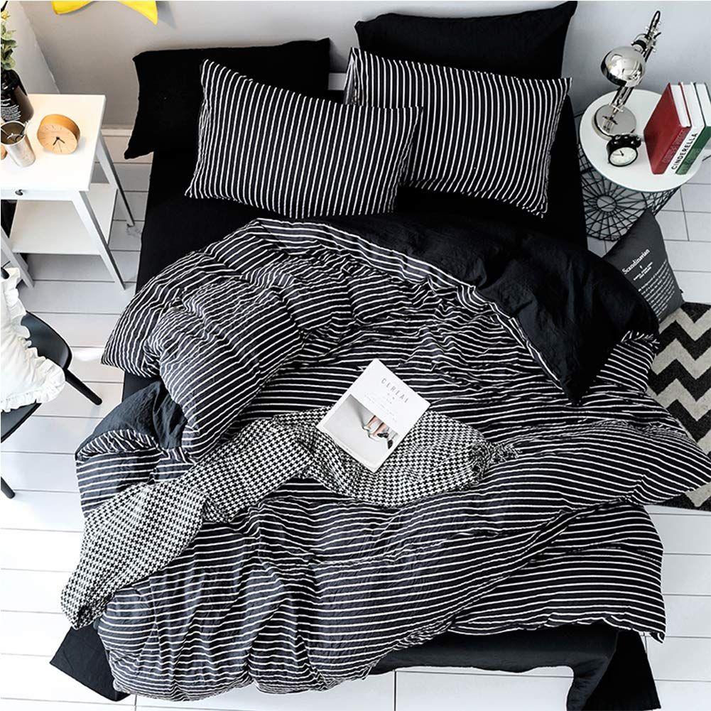 Amazon Com Lamejor Duvet Cover Sets Queen Size Striped Pattern Reversible Luxury Soft Bedding Set Comforter Cove Black Bed Sheets Bedding Set Duvet Cover Sets Black and white pattern sheets
