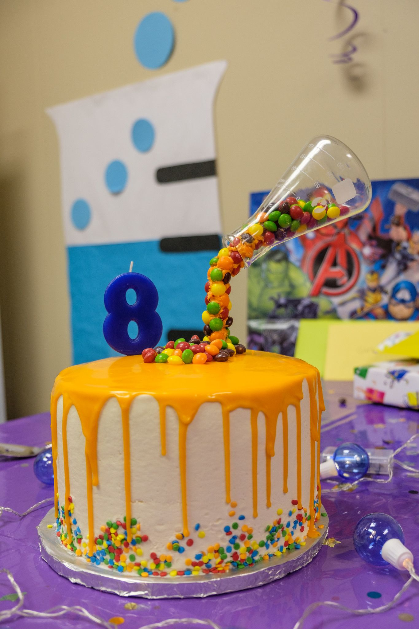 Marvelous Rainbow Layered Drip Cake Filled With Skittles And Sprinkles Personalised Birthday Cards Petedlily Jamesorg
