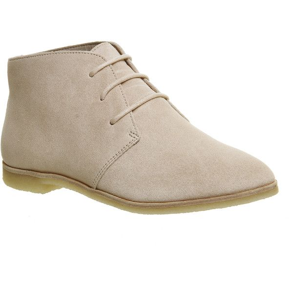 Clarks Originals Phenia Desert Boots (1,985 MXN) ❤ liked on Polyvore featuring shoes, boots, ankle booties, ankle boots, light pink suede, women, ash booties, laced boots, ash bootie and lace-up ankle boots