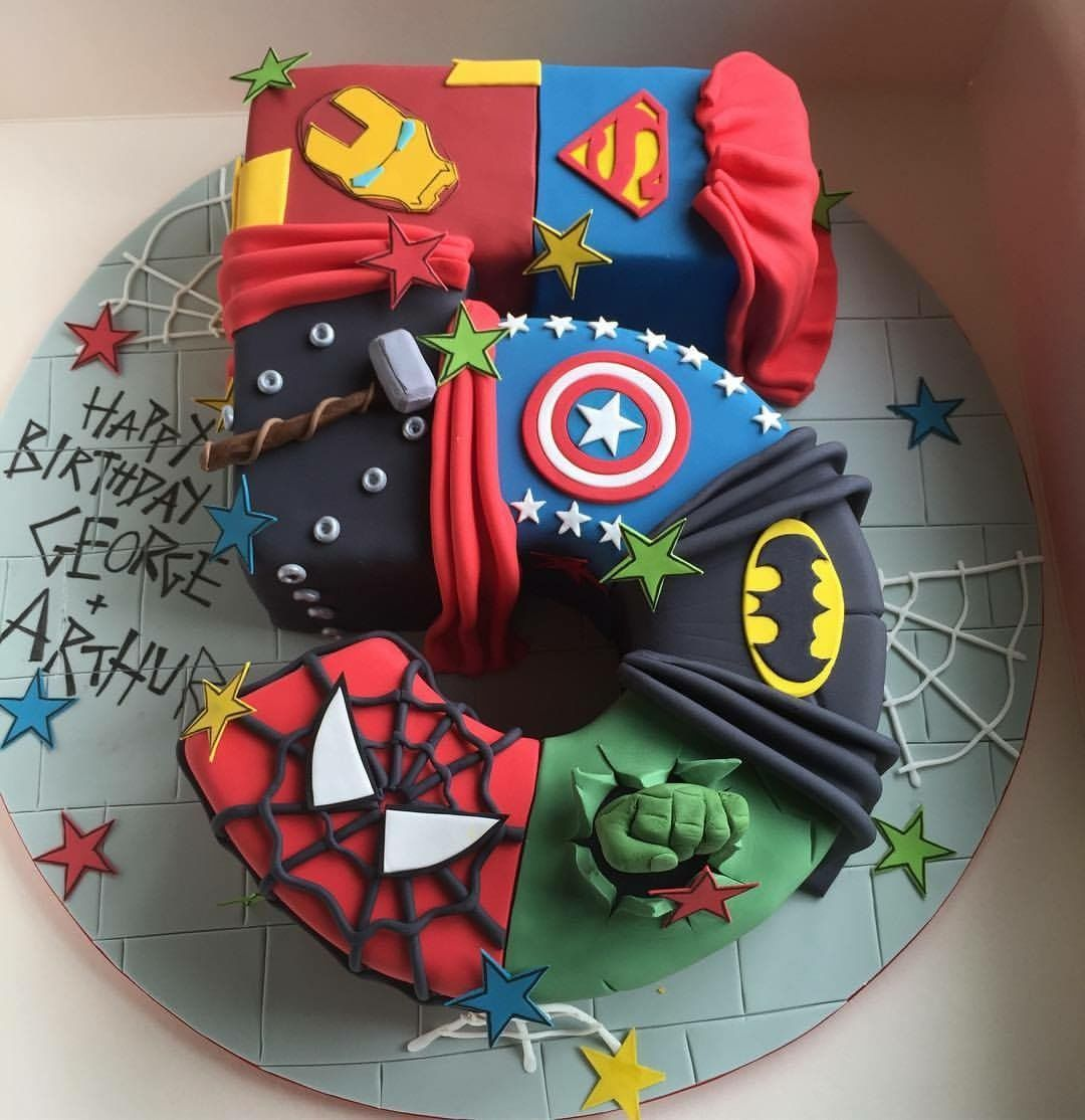 Groovy Number 5 Superhero Cake With Images Superhero Birthday Cake Personalised Birthday Cards Xaembasilily Jamesorg