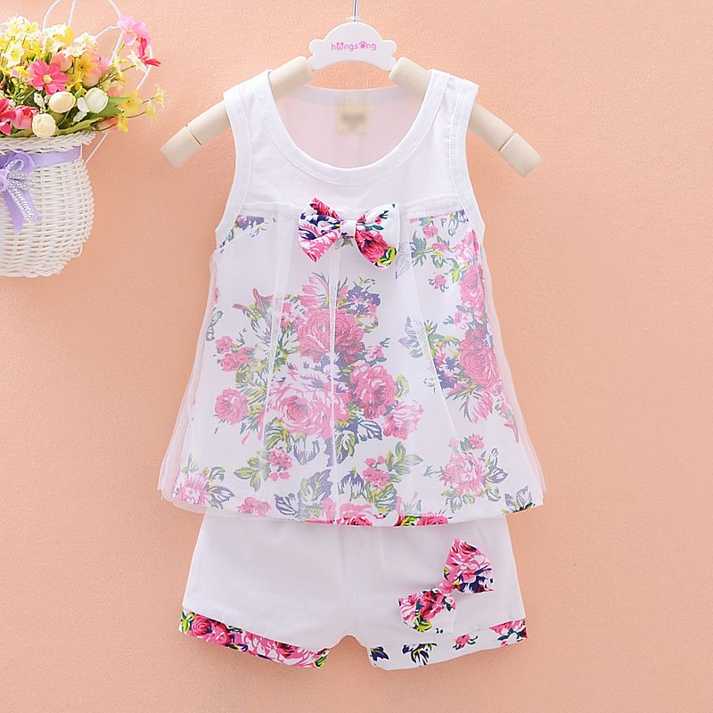 dc859ff2b18c Click to Buy << Girls' summer set Korean baby clothing girls FLOWER vest  +shorts two pieces baby girls clothing set #Affiliate