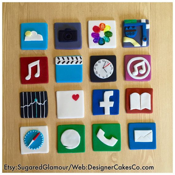 Fondant Mini iPhone App Cupcake Toppers Set of by SugaredGlamour