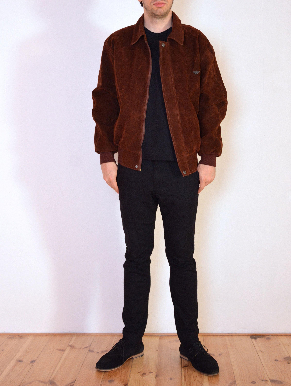 90 S Italian Faux Suede Jacket Brown Bomber Pilot Jacket Retro Vintage Tan Vegan Leather Jacket Size Large Xl Vegan Leather Jacket Faux Suede Jacket Suede Jacket [ 3000 x 2260 Pixel ]