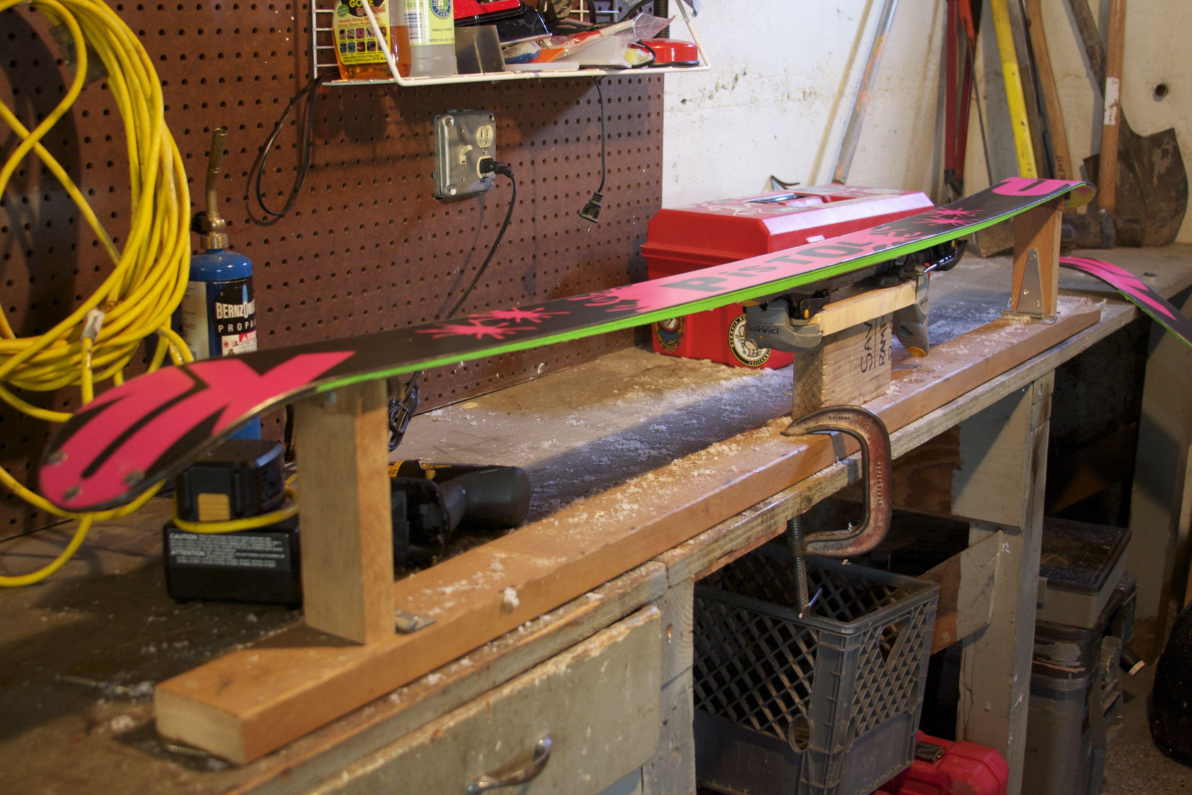 Diy ski tuning bench skiing ski rack diy