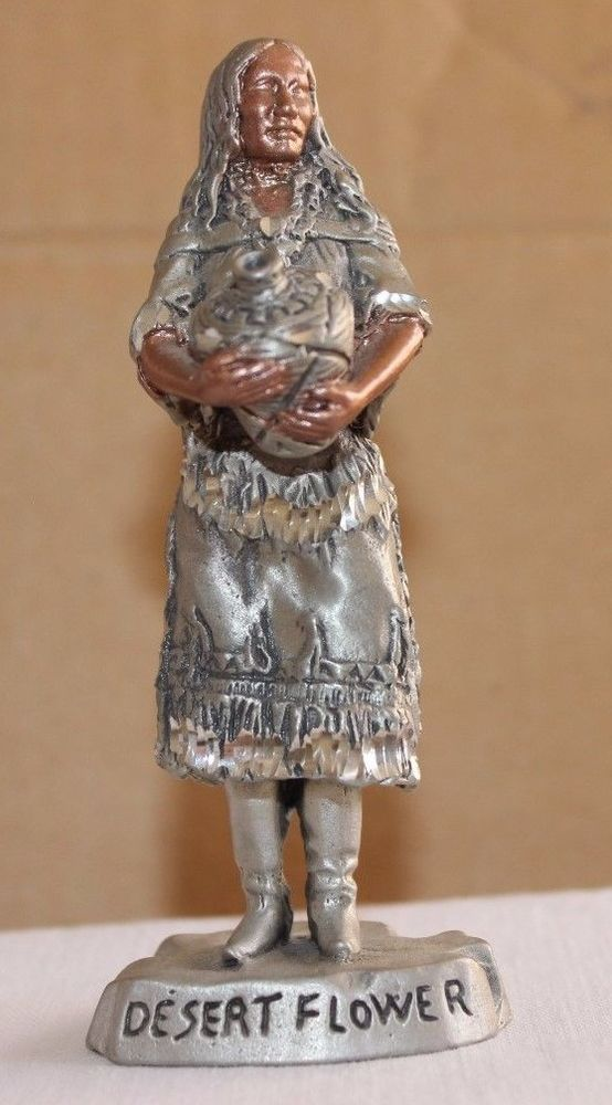 DESERT FLOWER NATIVE AMERICAN WOMAN WITH BABY FIGURINE MASTERWORKS FINE PEWTER