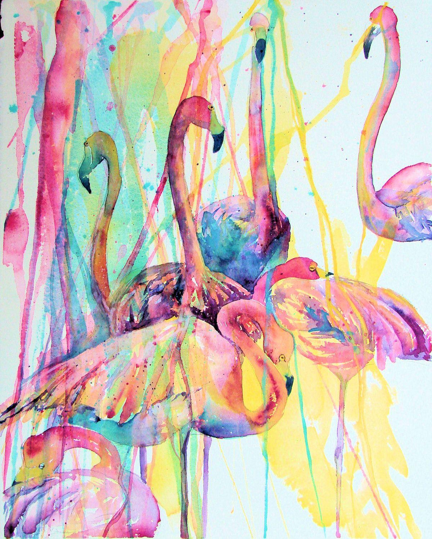 Flamants Roses Toile Wall Art Square Art Imprimé