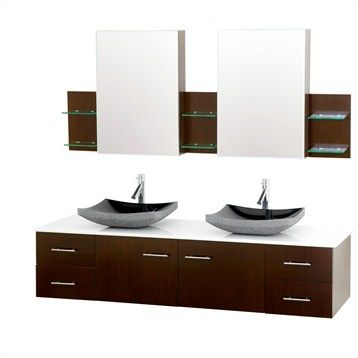 Bianca 72 Wall Mounted Double Bathroom Vanity Iron Wood With