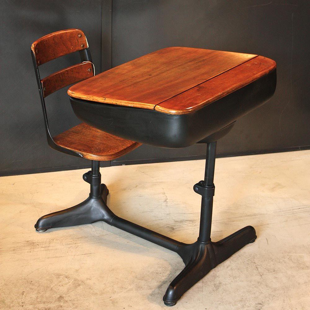 Ancien pupitre d'écolier origine USA vers 1950 Chaise