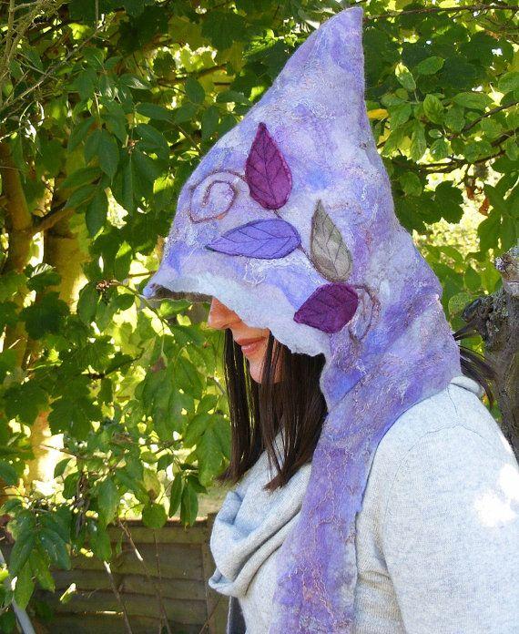 Dusk Felt Pixie Faerie Hood by folkowl on Etsy