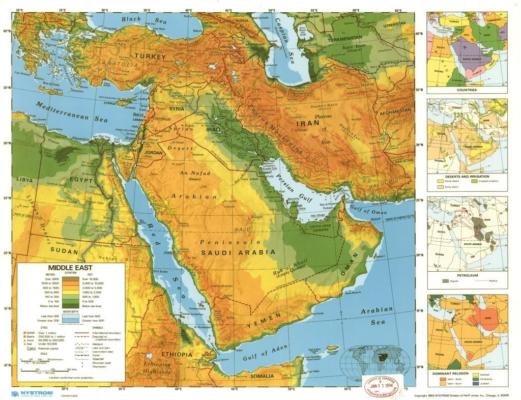 Above Shows The Middle East Elevation Also Shown Are Mountain - Map of egypt elevation