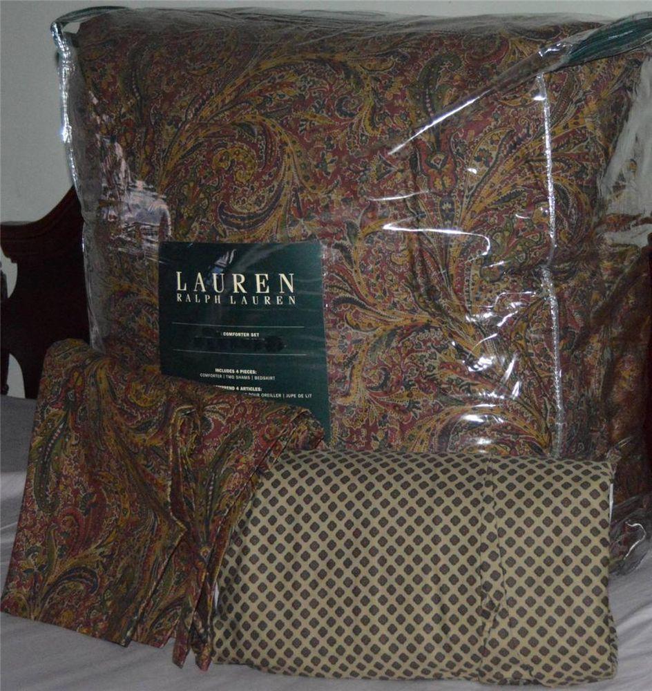 Ralph Lauren Jacqueline Burgundy Paisley King Comforter Set New 1st Quality 4p Ralphlauren