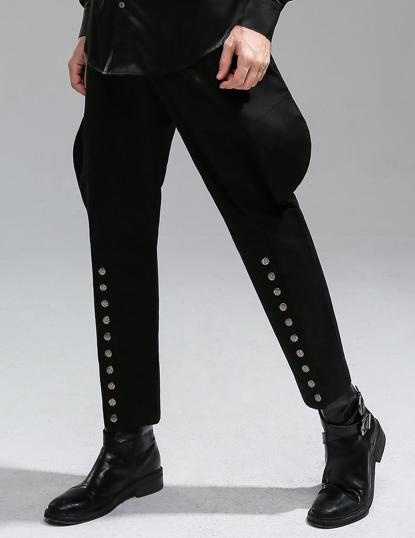 c5bac717d2 60.77€ - Steampunk Riding Breeches Men Pants Military Retro Trousers Black  Pants Brown Pants