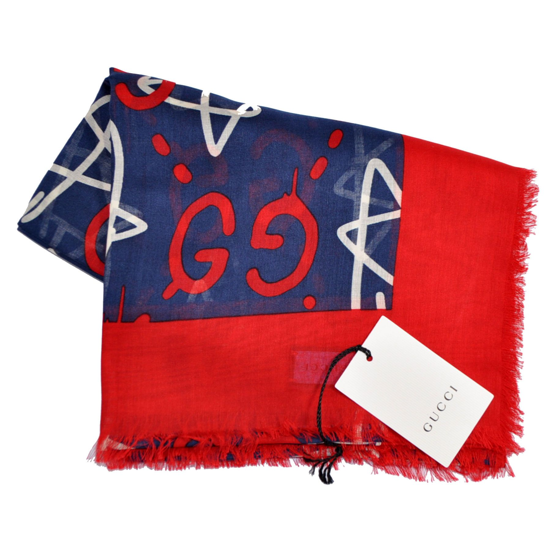 gucci scarf guccighost design navy red gg modal silk