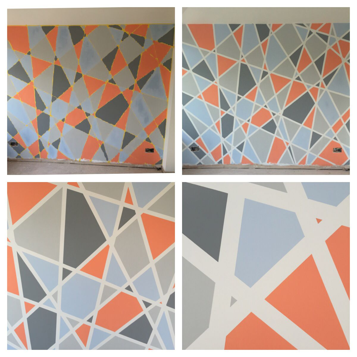 The Wall In My Conservatory Kitchen Frog Tape Different Colour Paint Makes For A Fab Feature Wall Wall Paint Designs Geometric Wall Paint Wall Design