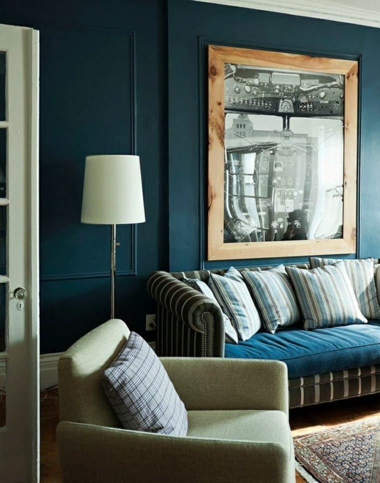 Salon bleu pétrole, bleu canard et bleu paon... | Mid-century modern ...