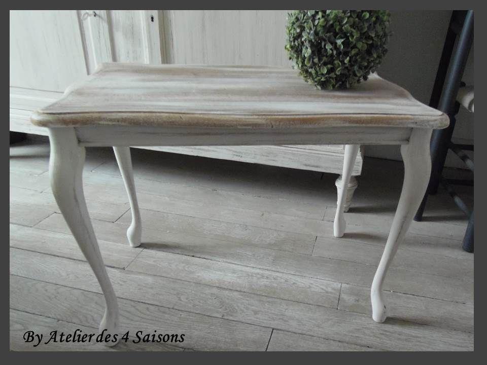 TABLE BASSE PATINÉE GRIS PERLE PLATEAU BLANCHI UNE NOUVELLE VIE - comment patiner un meuble en merisier
