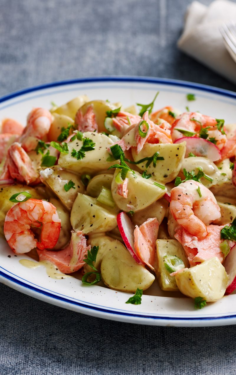 Creamy Potato Salad With Salmon And Prawns