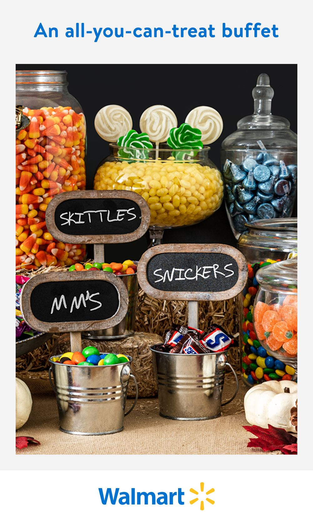 Make sure everyone ends up with their fave treat this Halloween with a candy buffet table! You'll find everyday low prices on serving stands, candy containers, and all your fave sweet treats at Walmart. Don't forget the finishing touches with pumpkins, ghosts, and other classic Halloween decor.